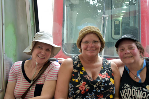 me-and-friends.jpg - With friends on the train going up to the Christ the Redeemer statue.