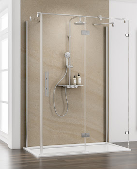 Porte de douche pivotante sur paroi fixe avec paroi latérale, 120 - 160 cm x 75 - 90 cm, grand large