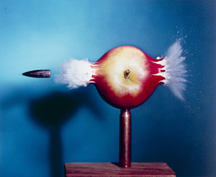 "Harold ""Doc"" Edgerton's iconic photo shows the bullet's entry into the apple is as explosive as its exit."