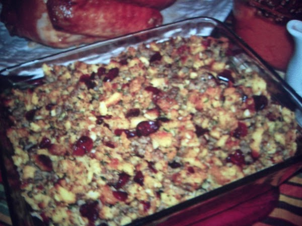 Sausage  & Sage Stuffing With Cranberries By Janet Recipe