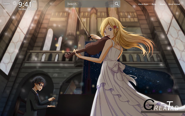 Your Lie In April Wallpapers Theme GreaTab