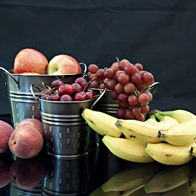 Healthy Living by Sherry Hallemeier - Food & Drink Fruits & Vegetables ( photograph, still life, phone cases, fine art, reflections, artwork, photography, metal, grapes, fresh, bananas, fine art photography, card, apples, artistic objects, prints, cards, fruit, buckets, tins, art, acrylic, canvas, red grapes, peaches, photo, food, pewter, artistic, eating, healthy, summer, freshness, cherries, posters,  )