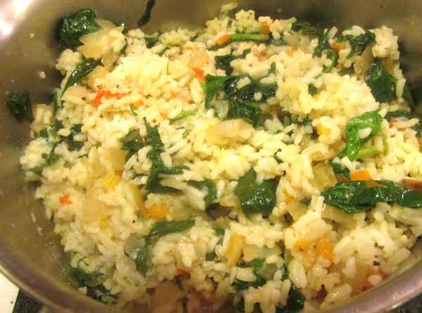 Rice  With Spinach Sweet  Peppers & Parmesan Recipe