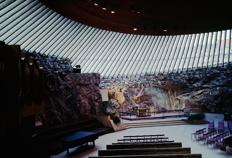 Interior of the Temppeliaukio Church, 1968, excavated out of rock and designed by architects and brothers Timo and Tuomo Suomalainen, Helsinki, Finland