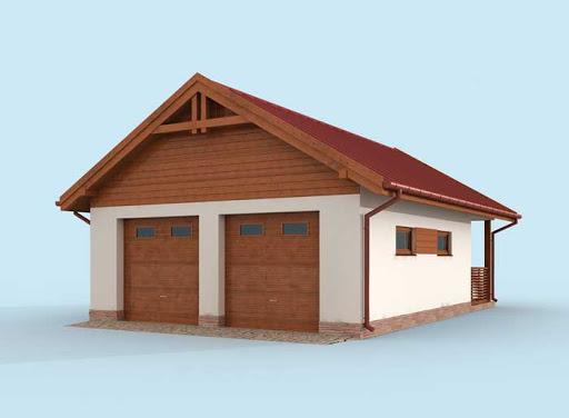 projekt G286 szkielet drewniany garaż dwustanowiskowy z werandą