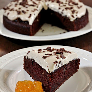 Chocolate Apricot Cake with Tiramisu Mascarpone Frosting