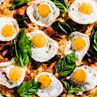 Breakfast Pizza with Ham and Egg.
