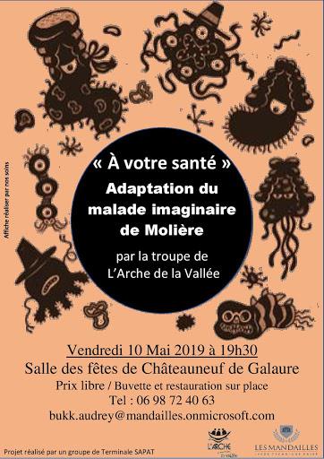 """Affiche représentation théâtre """"à votre santé"""" L'Arche de La Vallée"""