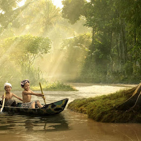little adventurer by Budi Cc-line - Digital Art People ( children, forest, light, river )