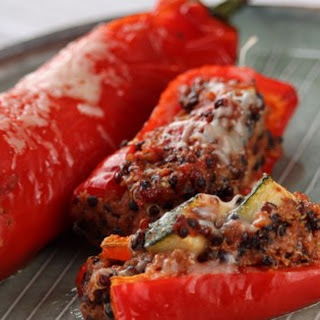 Stuffed Red Peppers with Quinoa, Mushrooms, and Turkey.