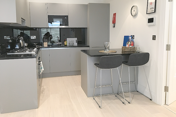 Full kitchen at Oxford Circus Apartments