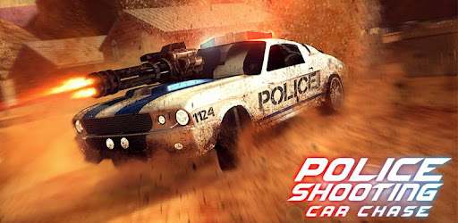 Drive an armored police car chasing & shooting criminals in free 3D racing game