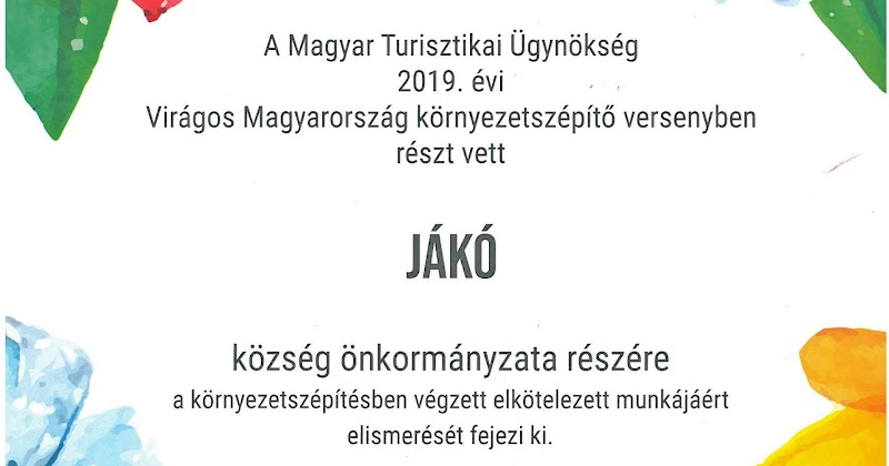 Virágos Magyarország - Elismerő oklevél Jákónak 2019