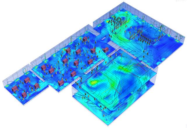 ANSYS Распределение скоростей воздушных потоков в выбранных зонах здания