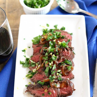 Brown Ale Marinated Hanger Steak with Caramelized Onions.