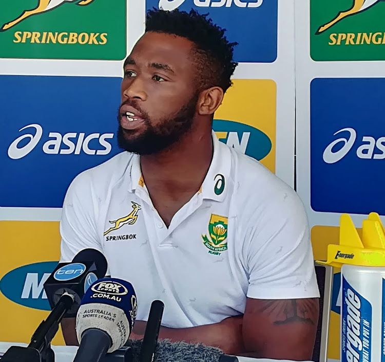 Springboks captain Siya Kolisi speaks to the media during a press conference in Brisbane ahead of the Rugby Championship match against hosts Australia on Saturday September 7 2018.