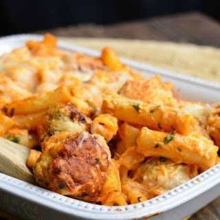 Chicken Meatball Baked Ziti