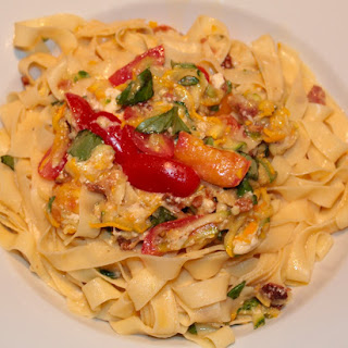 Zucchini-pancetta-tomato-basil & Fromage D'affinois With Truffles & Pasta Ribbons