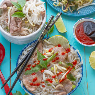 Vietnamese Pho – Beef Rice Noodle Soup Recipe (Pho Bo) with Shortcut and Slow Cooker Options.