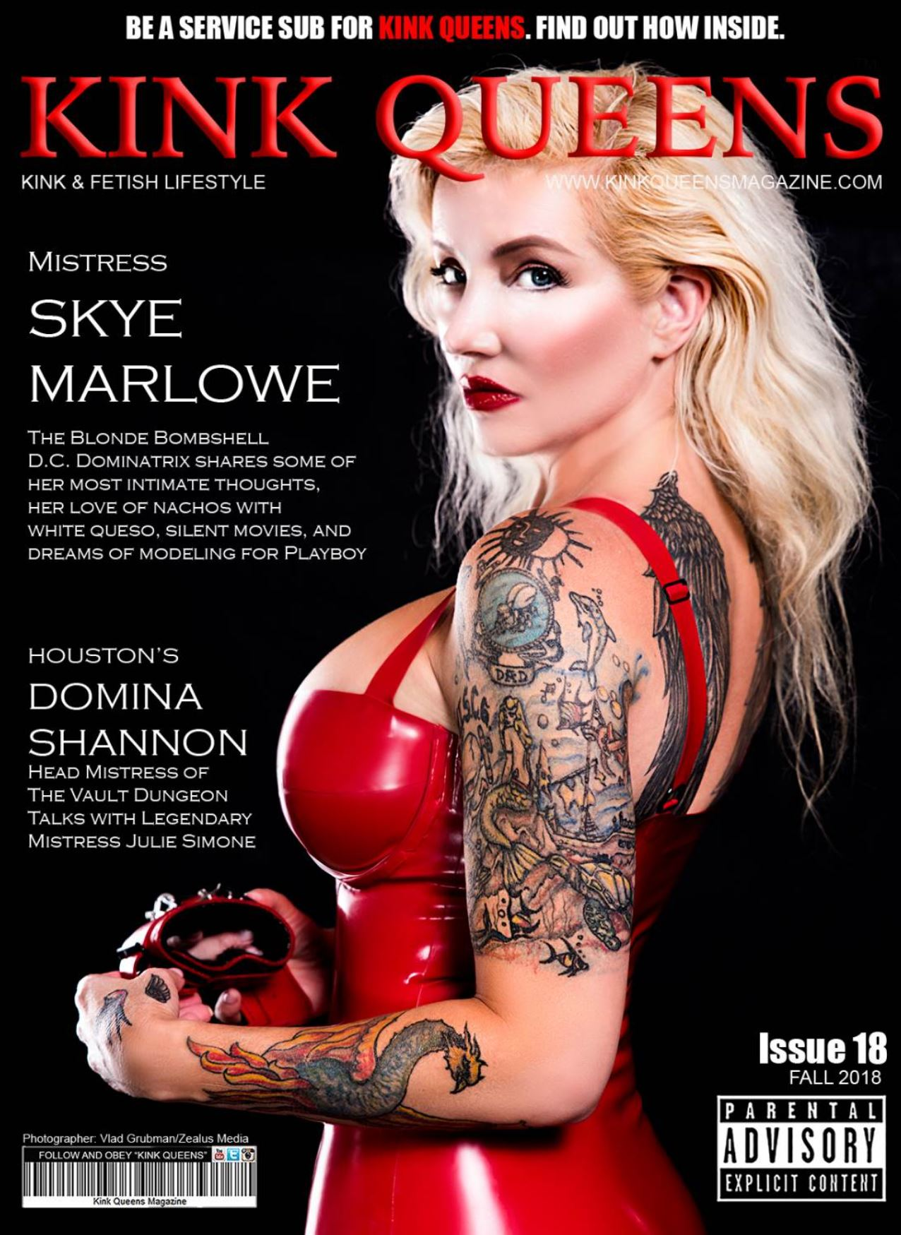 Publication in Kink Queens magazine - Cover / Photography by Vlad Grubman, Zealusmedia.com