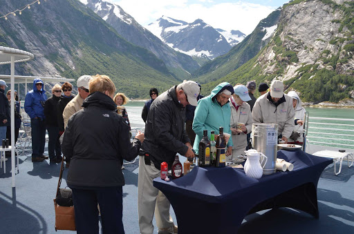 Tracy-Arm-Hot-Chocolate-Bar.jpg - The full-service hot chocolate bar on the sun deck of the American Spirit in Tracy Arm, Alaska, is a warm treat in this cool climate.