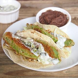 Fried Avocado Tacos with Creamy Jalapeno Sauce.