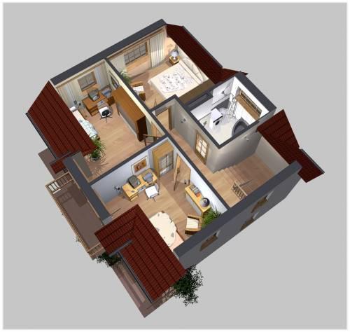 APS 125 - Rzut piętra 3D