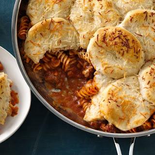 Creamy Lasagna Skillet Pot Pie.