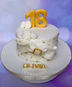 18th white and gold birthday cake