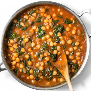 Curried Chickpeas with Spinach.