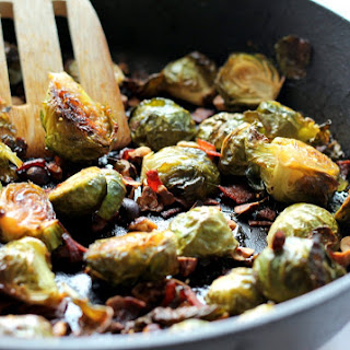 Maple-Roasted Brussels Sprouts with Bacon + Toasted Hazelnuts