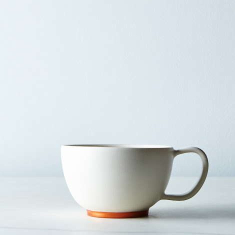 White and Copper Ceramic Cocoa Mug