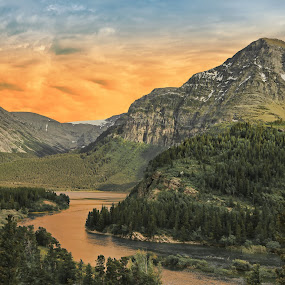 Many Glacier by Mike Lennett - Landscapes Mountains & Hills ( glacier, hills, national park, mountains, montana, sunset, many glacier, mike lennett, golden )