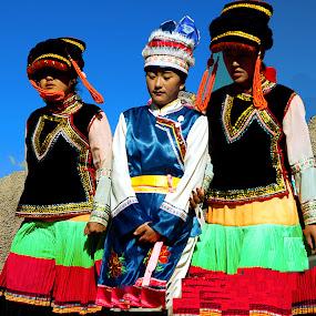 Naxi Dancers by Xiufen Gu - People Musicians & Entertainers ( lijiang,  )