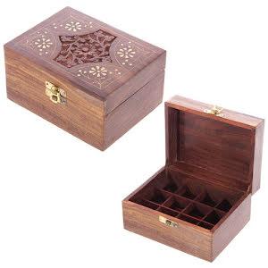 Trälåda / Box för Eterisk olja 12 flaskor