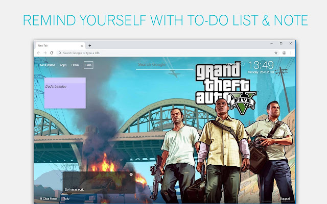 Grand Theft Auto V Wallpapers HD GTA 5 NewTab