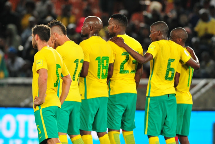 Bafana Bafana players during the 2018 FIFA World Cup, Qualifier match between South Africa and Senegal at Peter Mokaba Stadium on November 10, 2017 in Polokwane, South Africa.