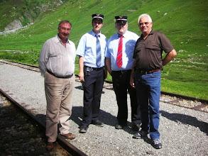Photo: Paul Mangold, zwei Bähnler, Paul Lüdi ( von links )