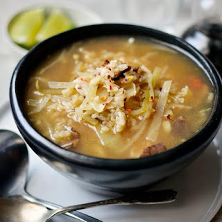 Hot & Sour Soup with Mushrooms, Cabbage, and Rice.