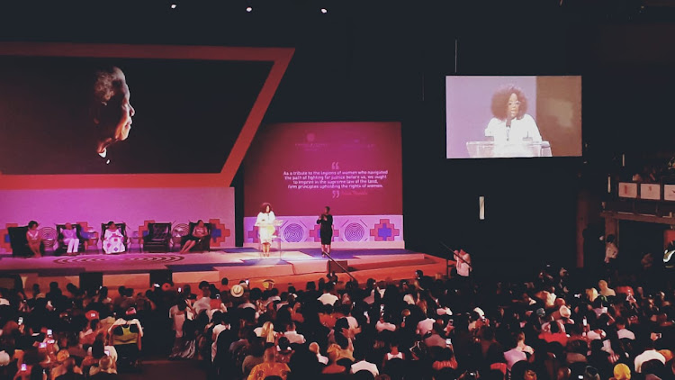 Oprah Winfrey addresses hundreds of women at the University of Johannesburg on Thursday, November 29 2018.