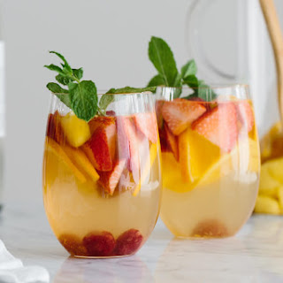 White Sangria with Mango and Berries.