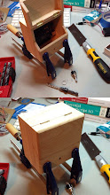 Photo: Step 3. Modifying a wooden jewelry box for the door and switch.