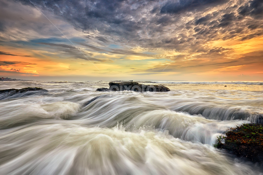 Over and over by Hendri Suhandi - Landscapes Waterscapes ( clouds, waterscape, sunset, seascape, beach, sunrise, flow, motion )