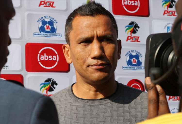 Fadlu Davids of Maritzburg United during the Absa Premiership match between Maritzburg United and Golden Arrows at Harry Gwala Stadium on August 04, 2018 in Pietermaritzburg, South Africa.