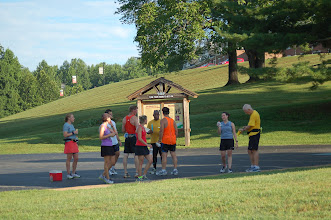 Photo: After run ice pops were a big hit. (notice everyone in the shade)