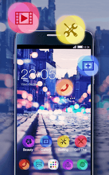 Stylish Romantic Theme: Neon Night Street Launcher APK screenshot thumbnail 2