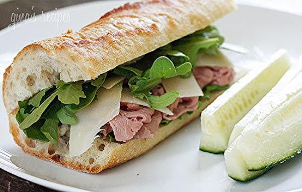 Roast Beef, Arugula And Shaved Parmesan On A Bague Recipe