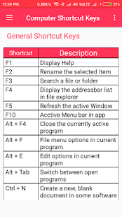 Computer Shortcut Keys - náhled