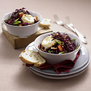 Goat Cheese Salad with Red Cabbage, Mango and Cashew Nuts.