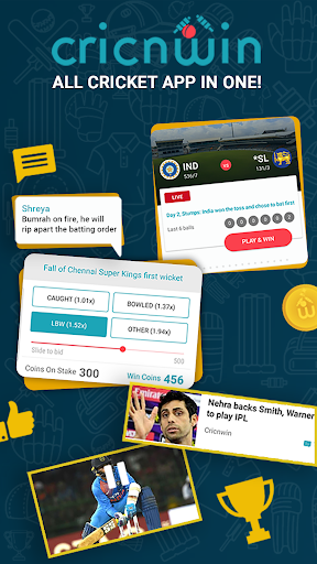 Cricnwin: Live Cricket Scores ,Play,Chat with Fans 5.31 screenshots 1